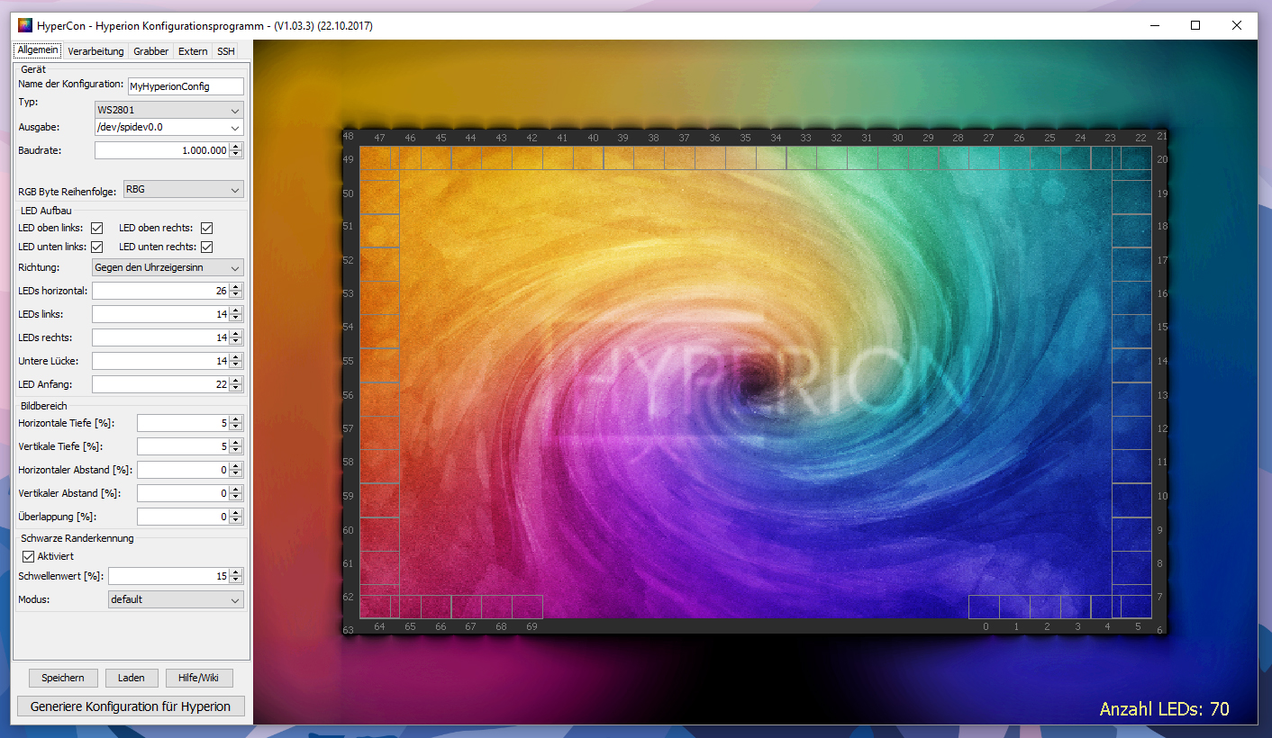 Ambilight Projekt - HyperCon Oberfläche
