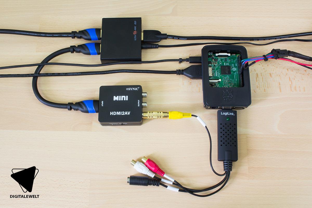 Raspberry Pi Ambilight Projekt - Verkabelung HDMI Quelle aufgebaut