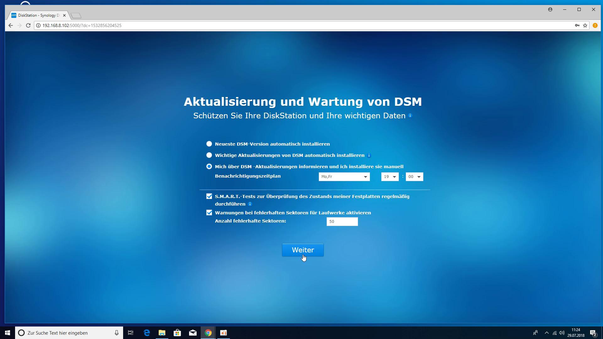 Synology DS218+ NAS - Aktualisierung und Wartung von DSM