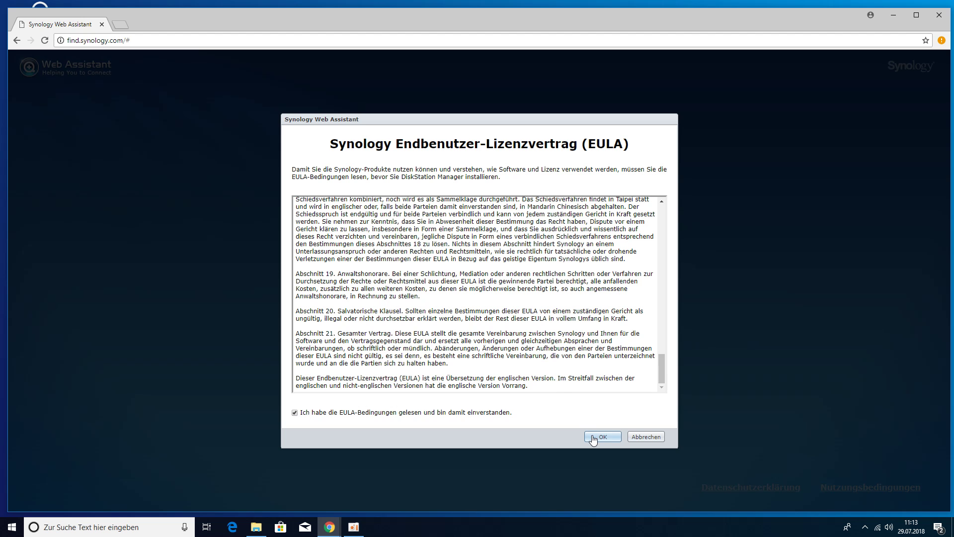 Synology DS218+ NAS - Endbenutzer-Lizenzvertrag