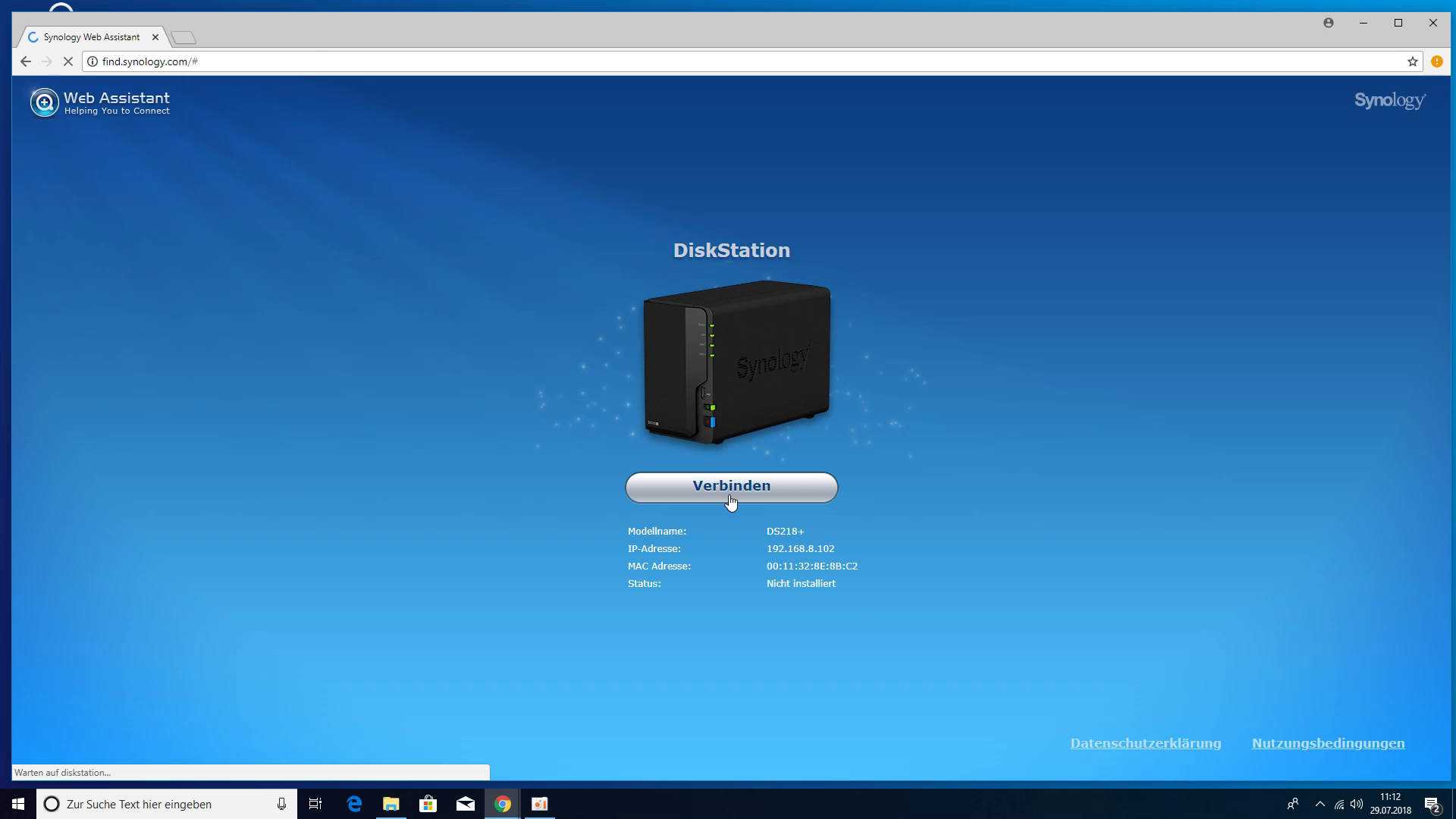 Synology DS218+ NAS - find.synology