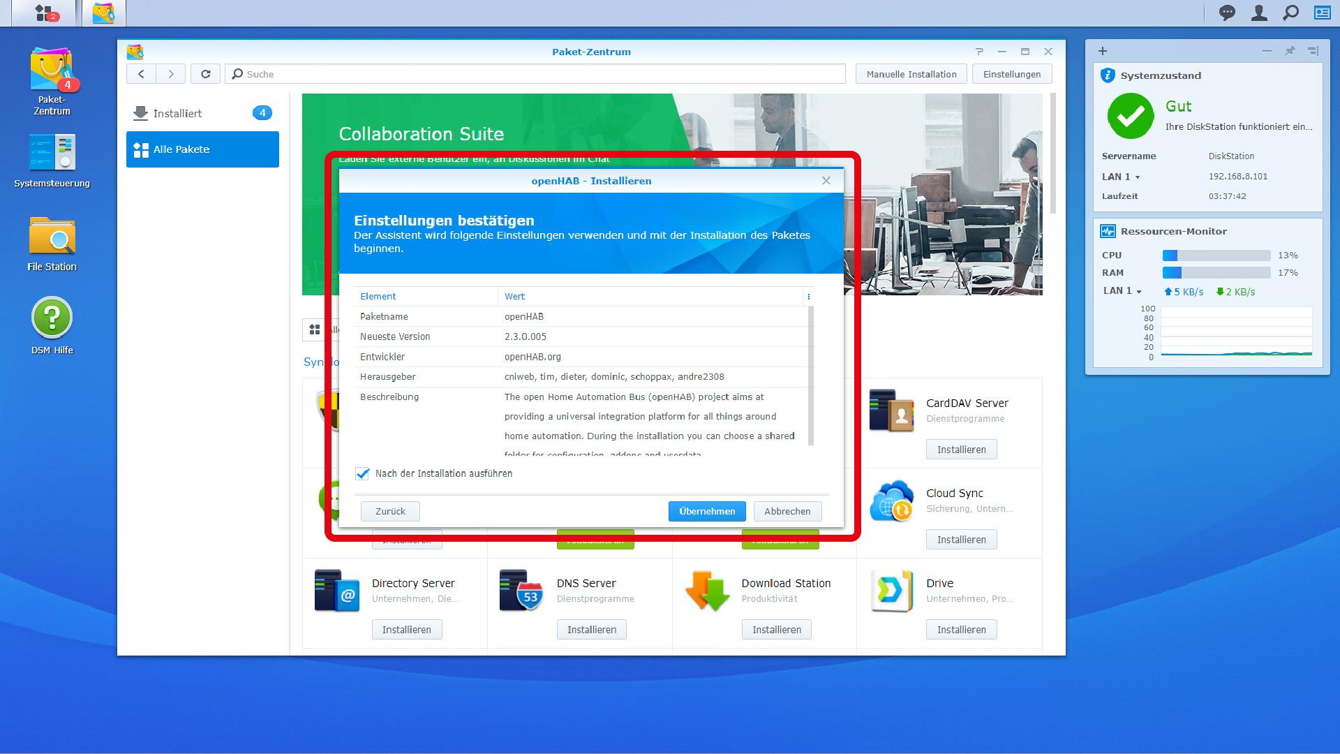 DigitaleWelt openHAB 2 - DiskStation Einstellungen übernehmen