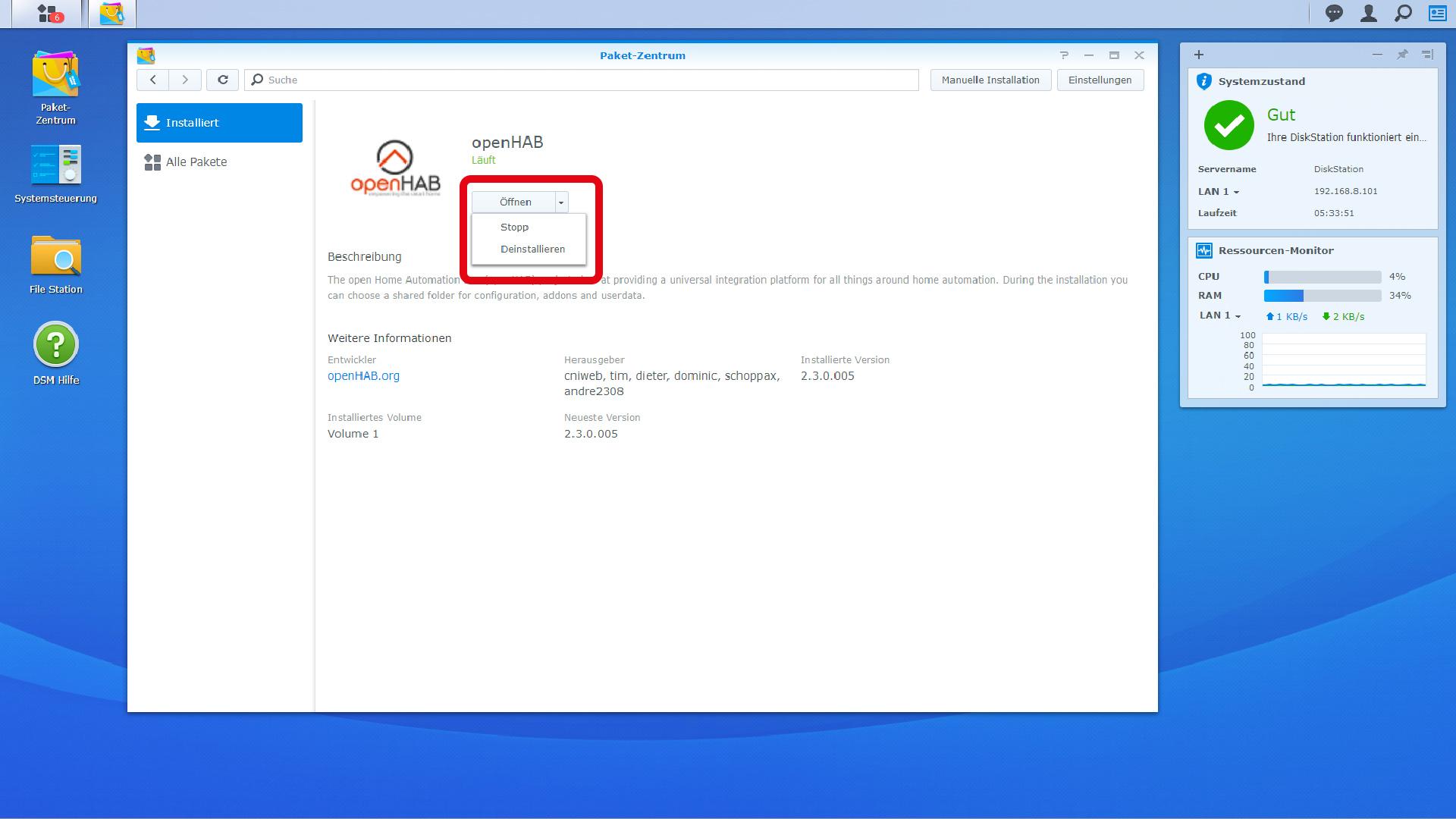 DigitaleWelt openHAB 2 - DiskStation openHAB öffnen - stoppen - starten - deinstallieren