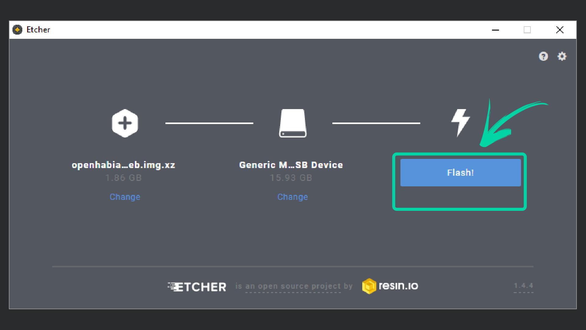 DigitaleWelt openHAB 2 - Etcher Flash (Schreiben)