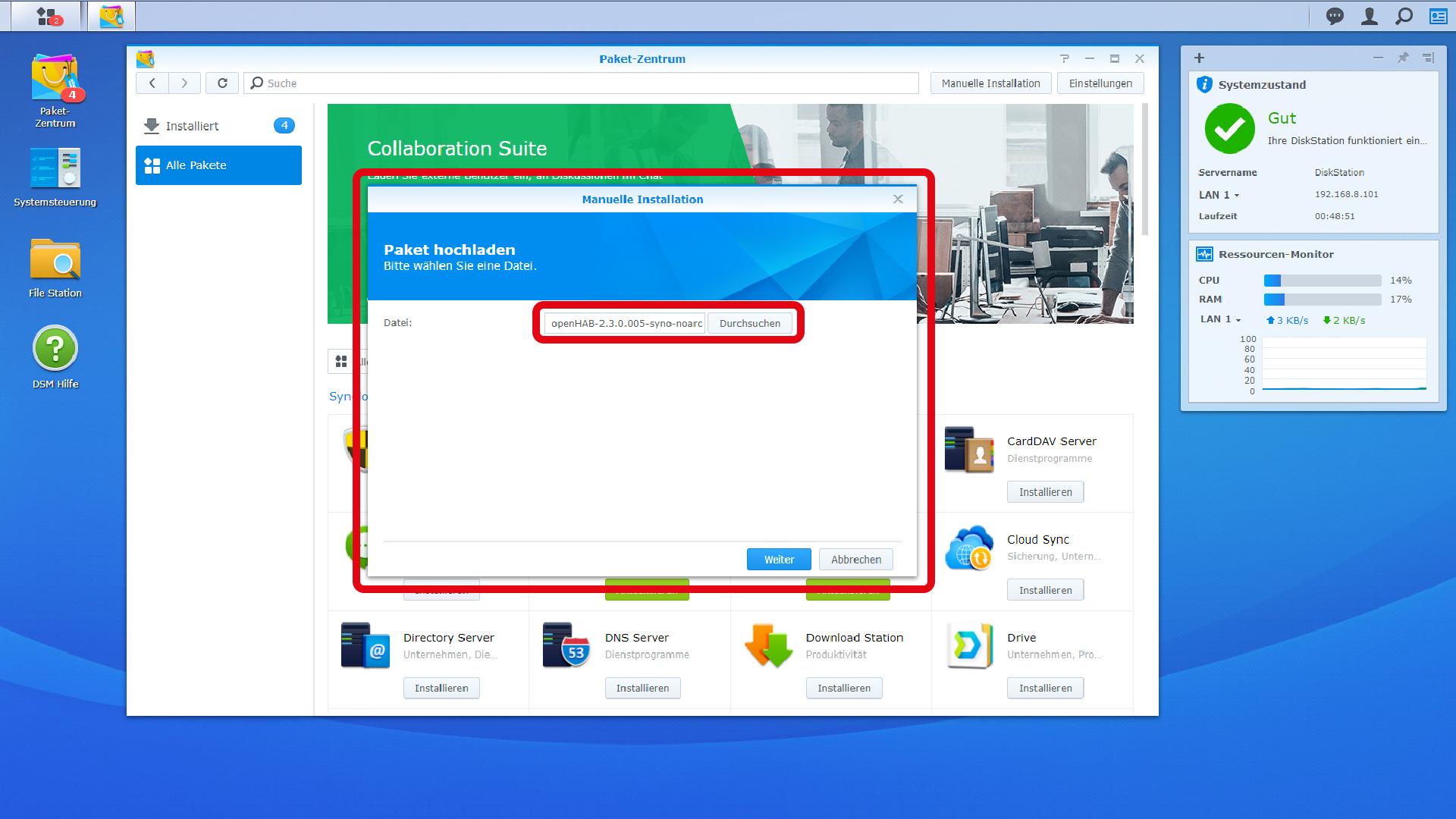 DigitaleWelt openHAB 2 - Manuelle Installation - spk Datei auswählen