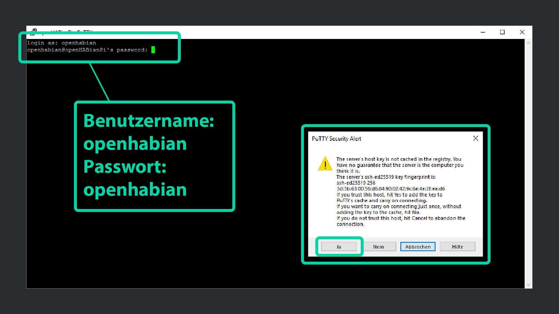 DigitaleWelt openHAB 2 - Putty Benutzname und Passwort