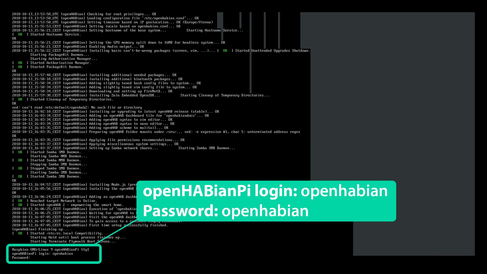 DigitaleWelt openHAB 2 - openHABian Login