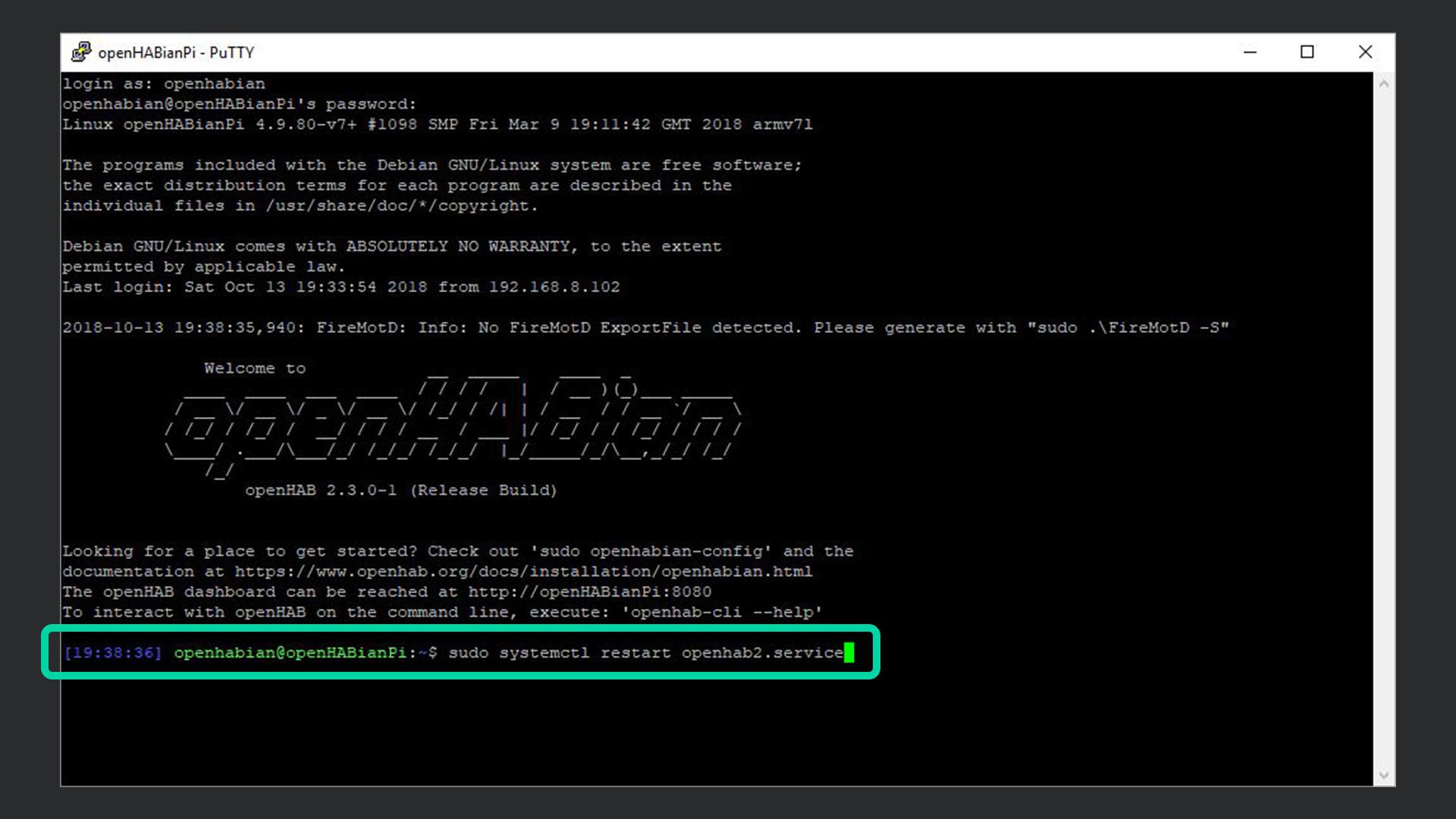 DigitaleWelt openHAB 2 - openHABian restart