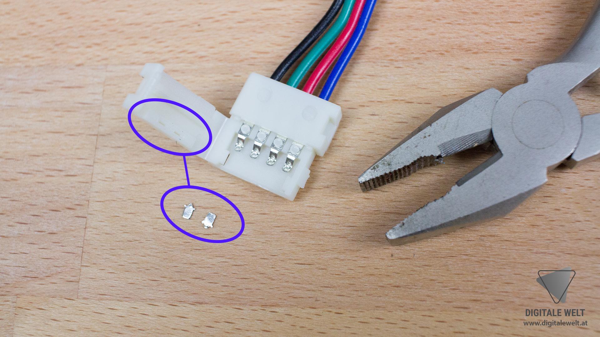 Ambilight ohne Löten - Metallstifte entfernt (DigitaleWelt)