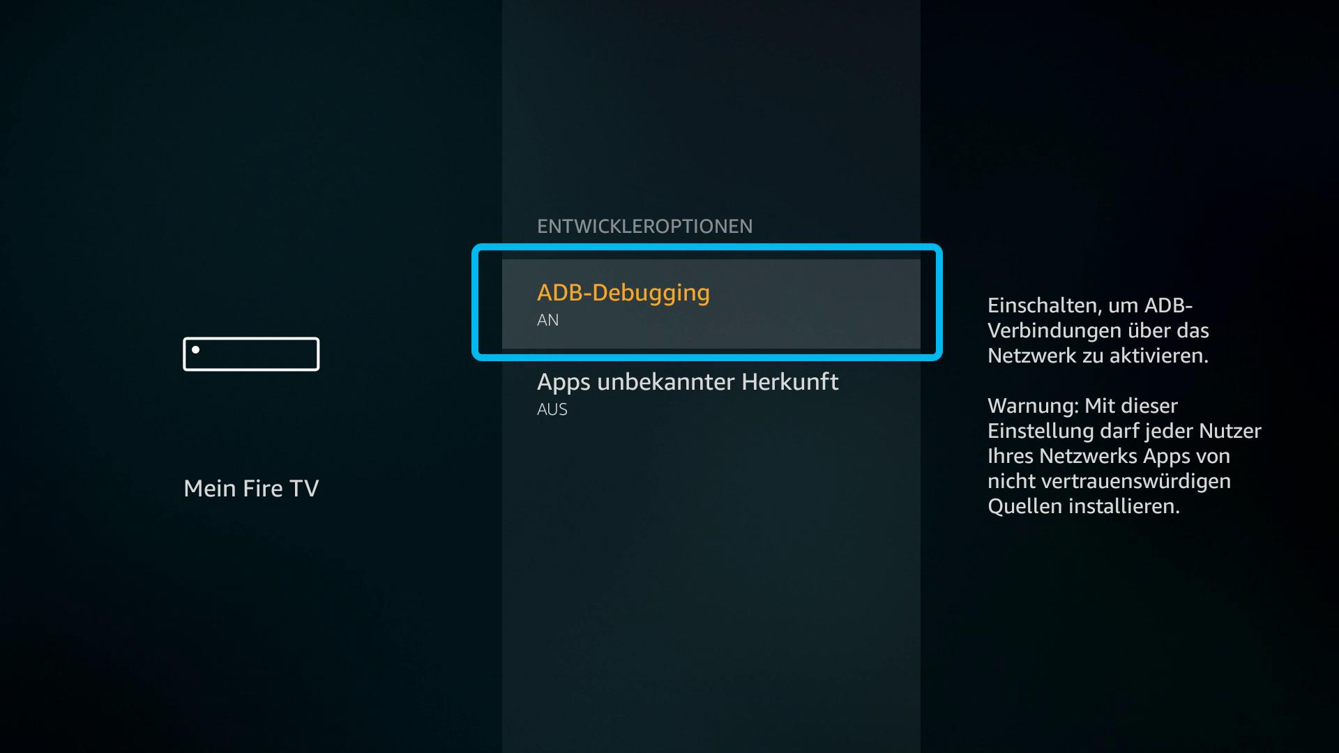 Kodi auf FireTV Stick (DigitaleWelt) - ADB-Debugging aktivieren
