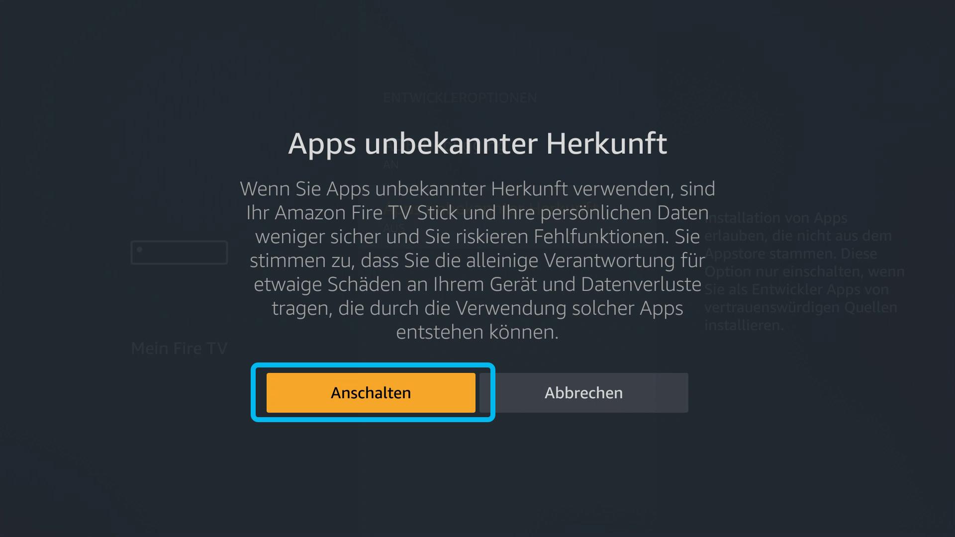 Kodi auf FireTV Stick (DigitaleWelt) - Apps unbekannter Herkunft