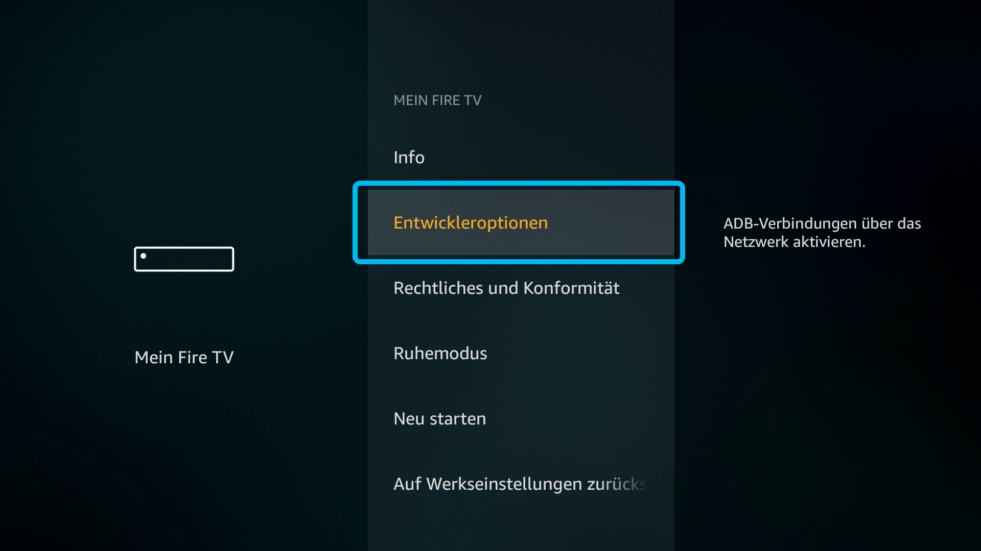Kodi auf FireTV Stick (DigitaleWelt) - Entwickleroptionen