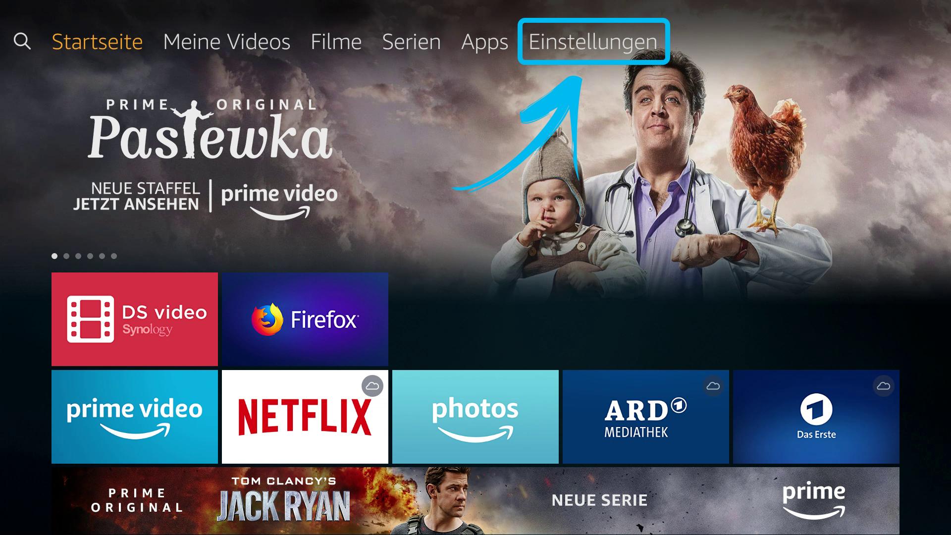 Kodi auf FireTV Stick (DigitaleWelt) - Hauptmenü-Einstellungen