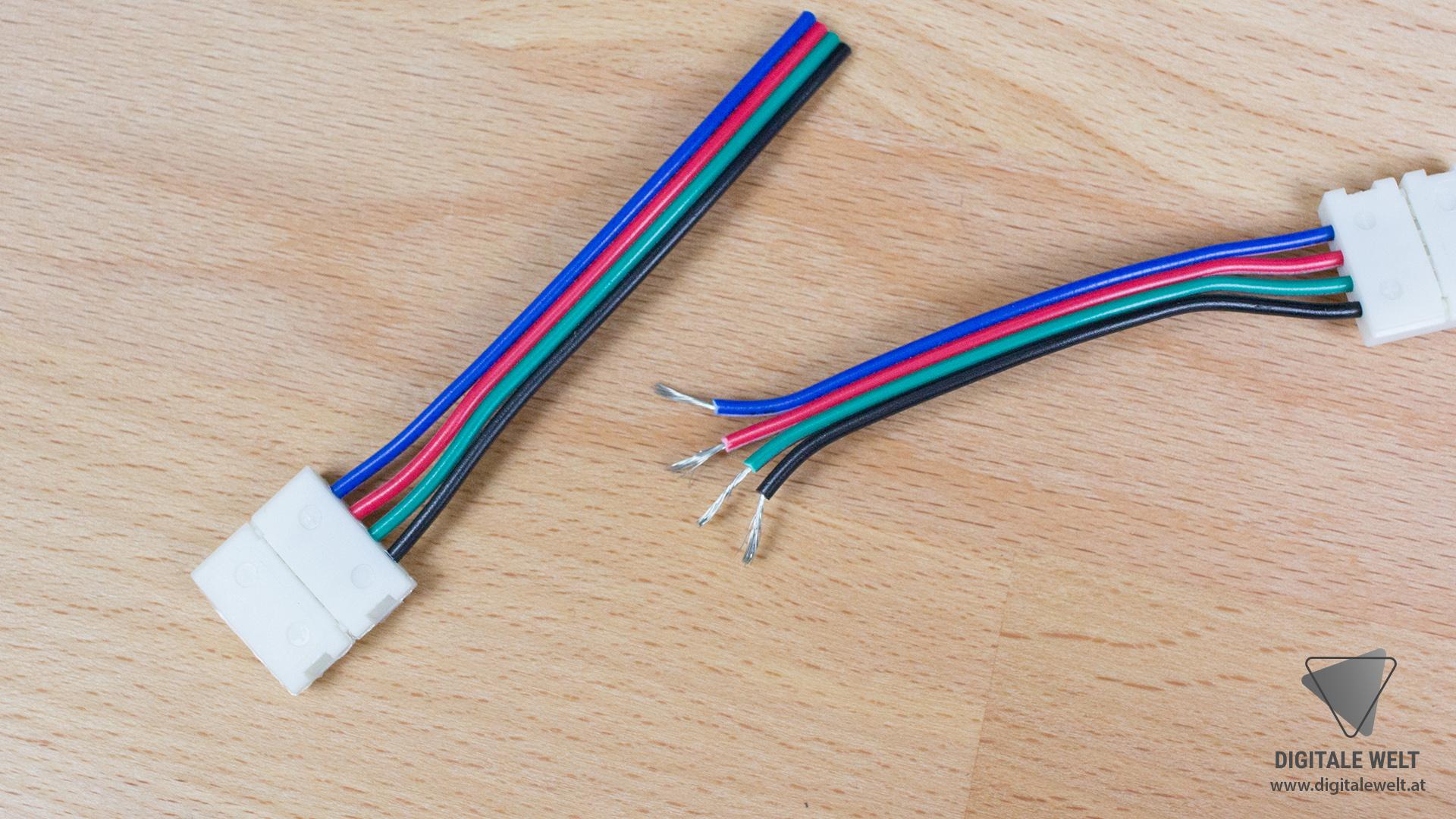 Ambilight ohne Löten - 4-polige Verbindungskabel Stecker wegschneiden (DigitaleWelt)