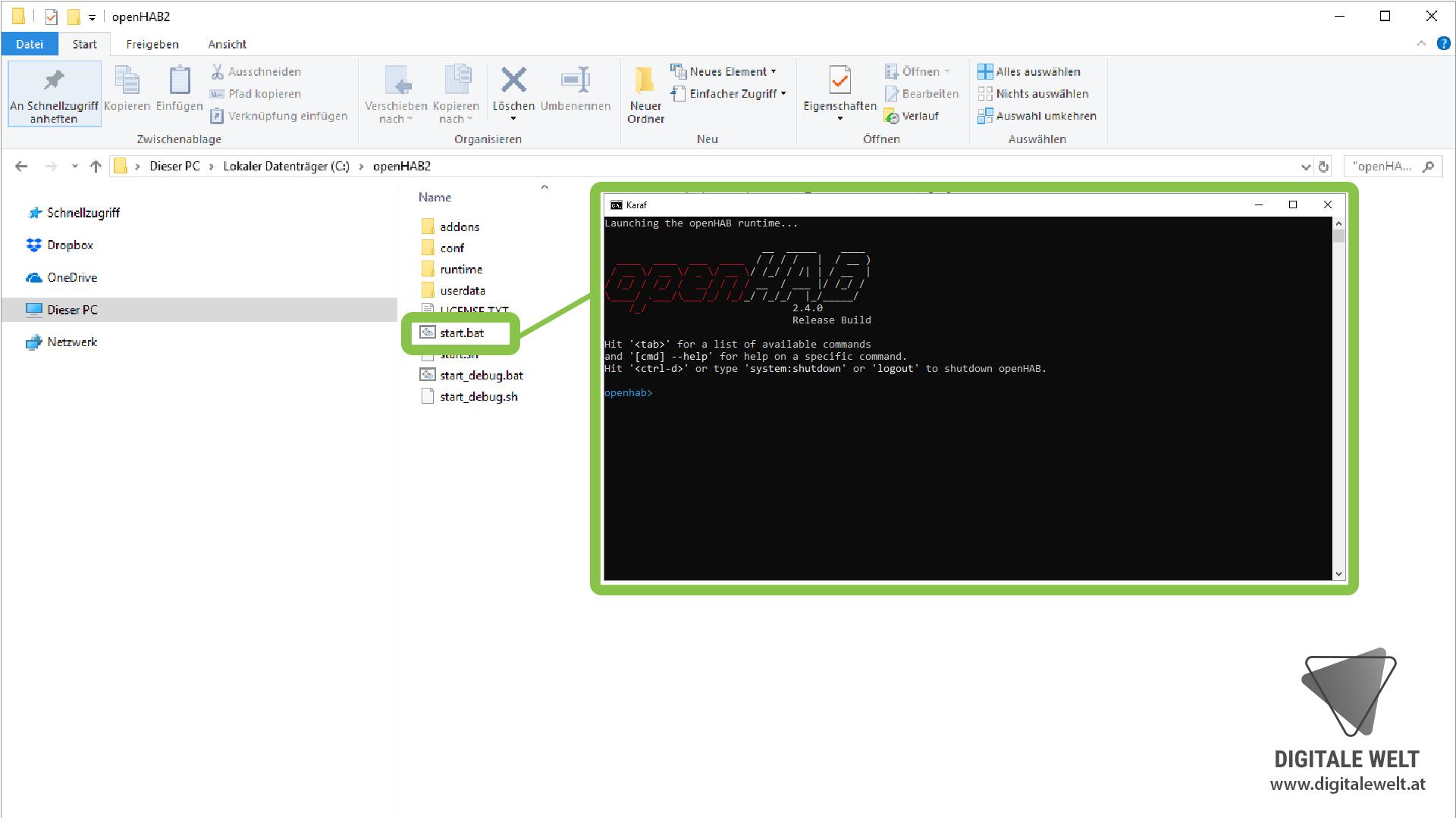 openHAB 2 Windows - Dienst starten (DigitaleWelt)