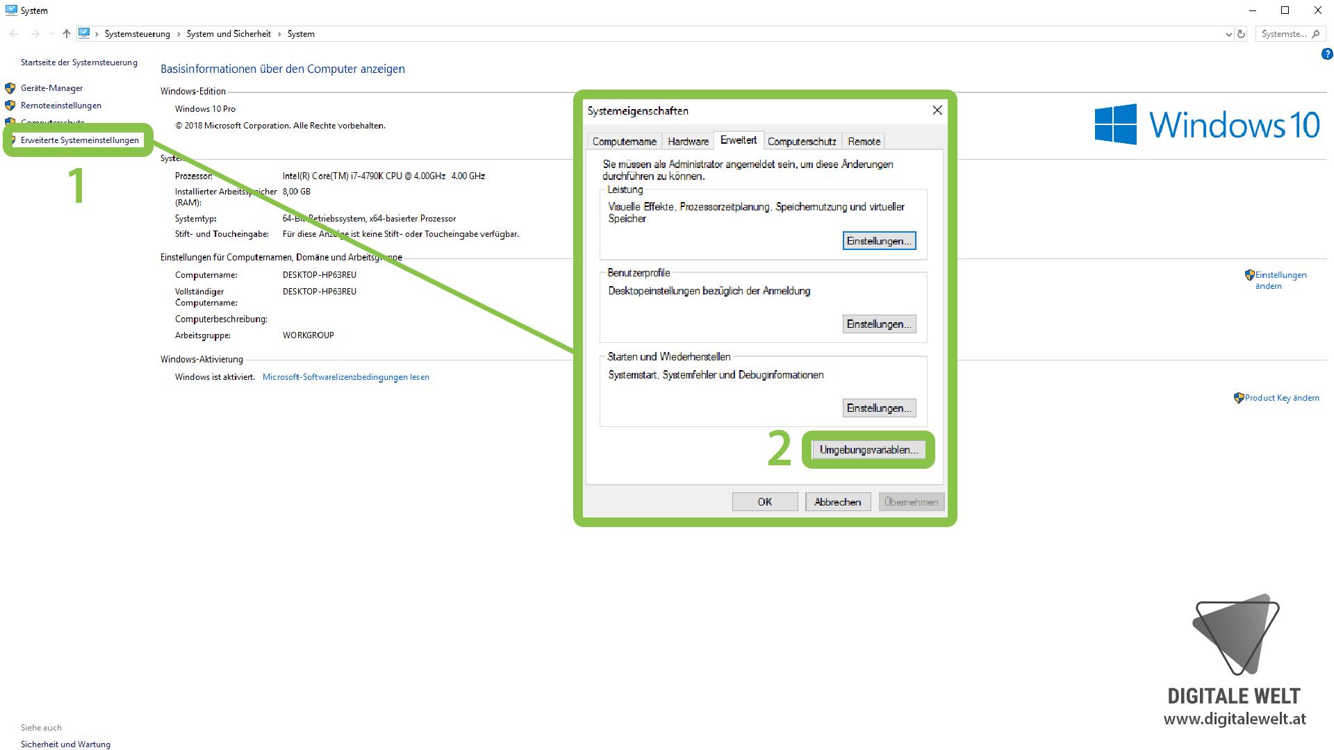 openHAB 2 Windows - System Umgebungsvariablen (DigitaleWelt)