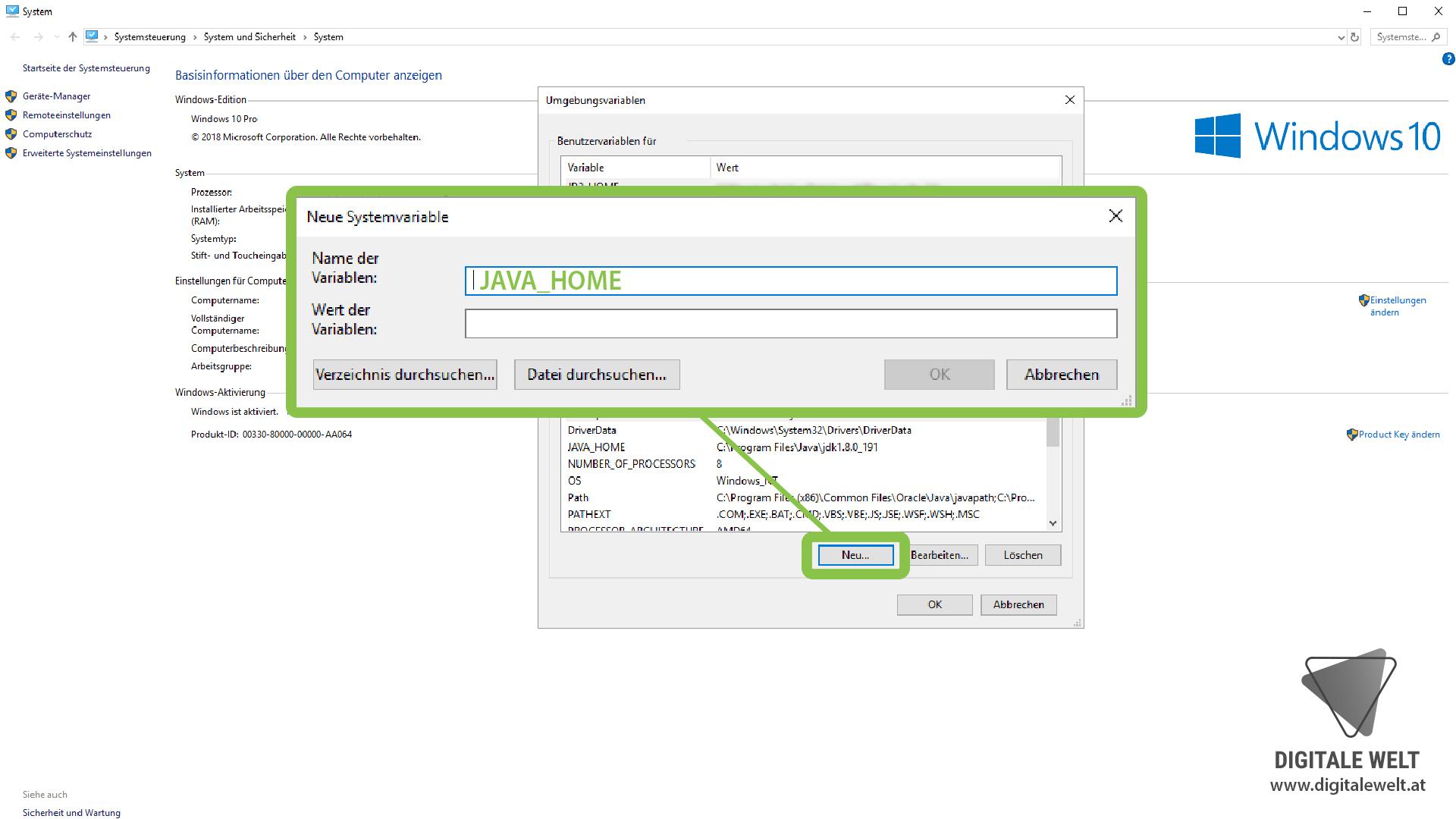 openHAB 2 Windows - Variable JAVA_HOME (DigitaleWelt)