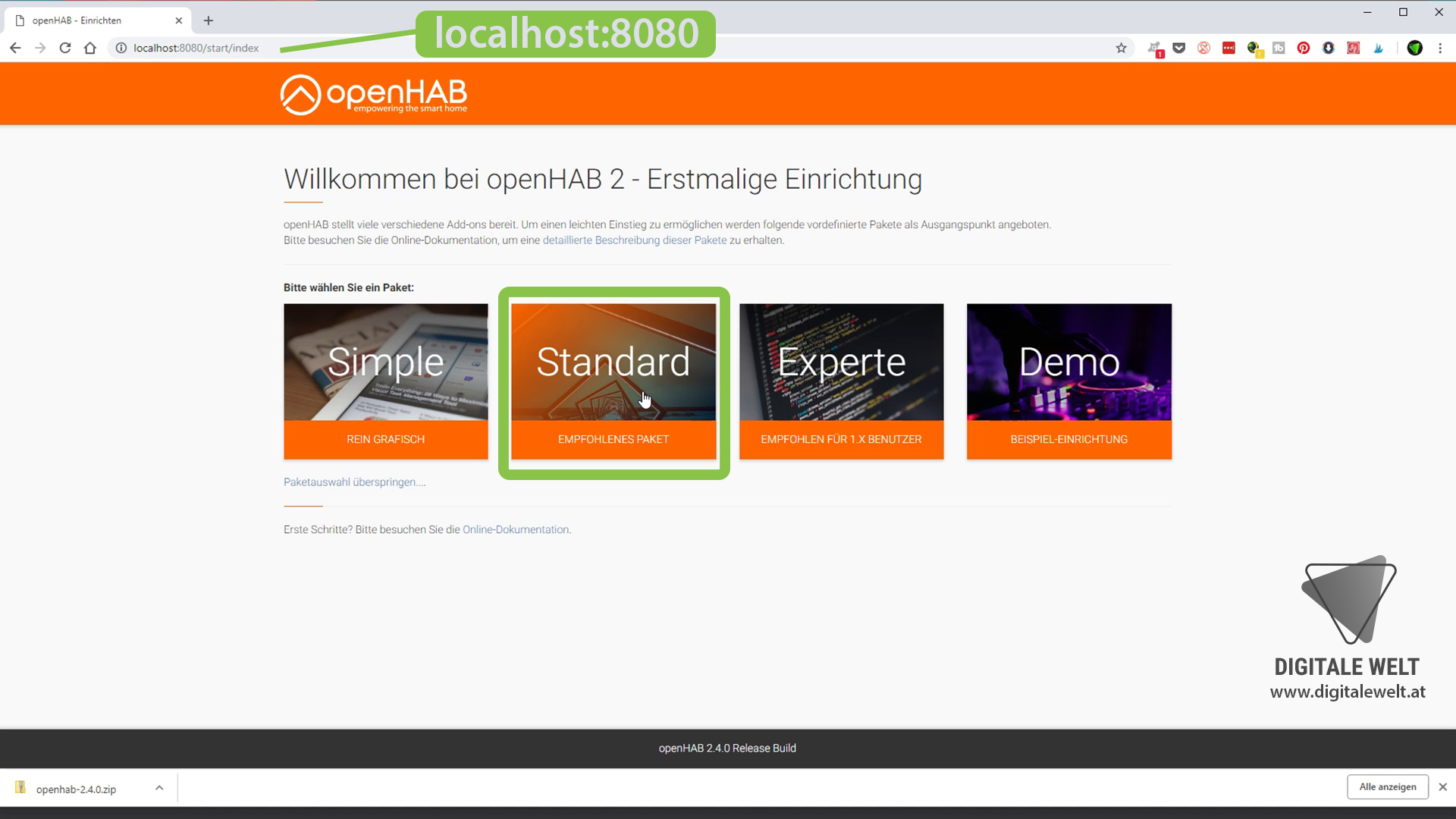 openHAB 2 Windows - openHAB 2 Browser (DigitaleWelt)