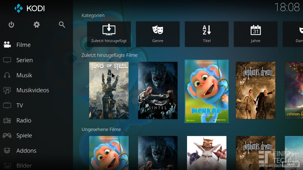 Raspberry Pi 4 Kodi installieren - Film und Serien Cover - digitalewelt.at