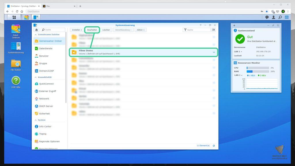 DiskStation Plex installieren & einrichten - Gemeinsamer Ordner bearbeiten