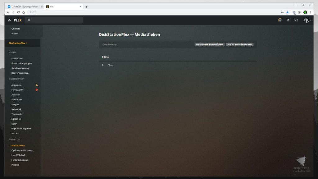 DiskStation Plex installieren & einrichten - Mediathek Filme wird indexiert