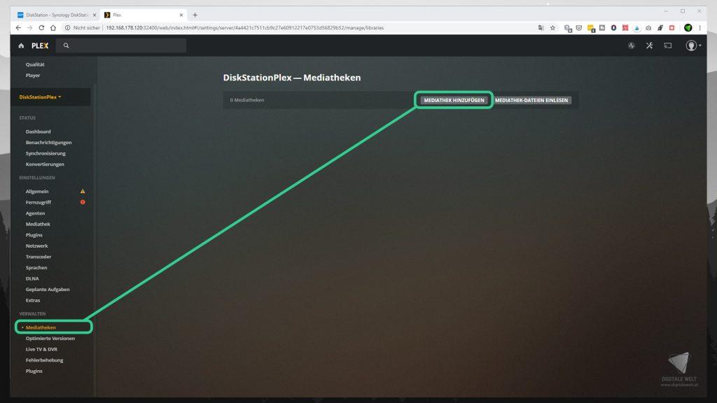 DiskStation Plex installieren & einrichten - Mediatheken