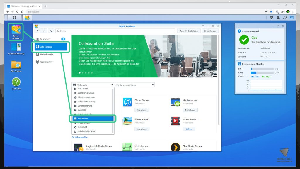 DiskStation Plex installieren & einrichten - Multimedia Pakte