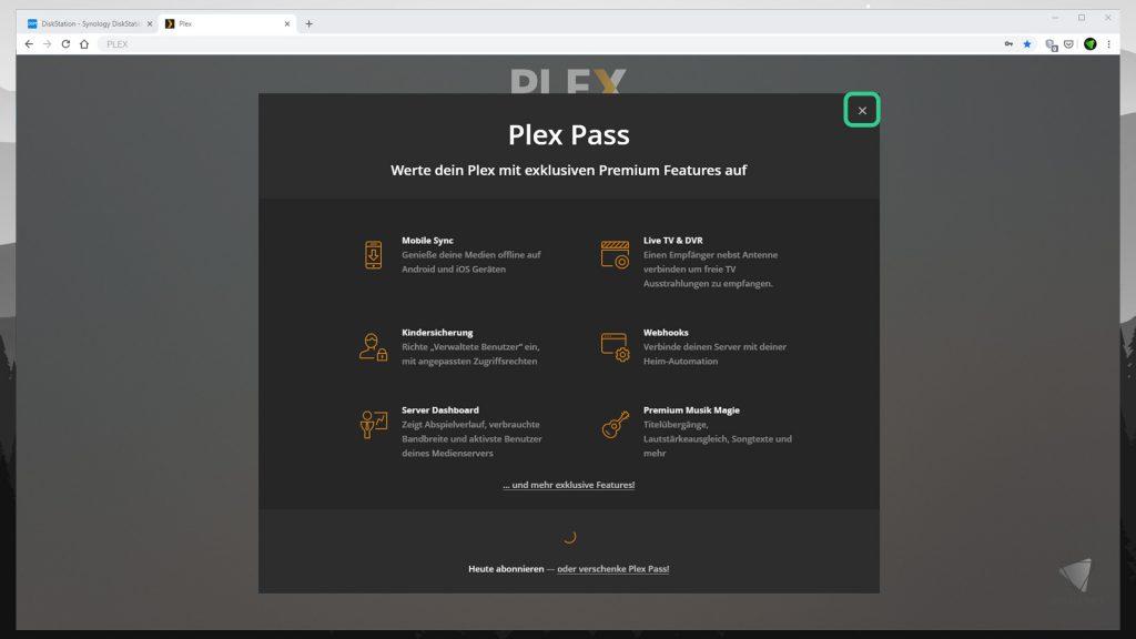 DiskStation Plex installieren & einrichten - Plex Pass abonnieren