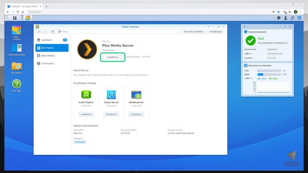 DiskStation Plex installieren & einrichten - Plex installieren