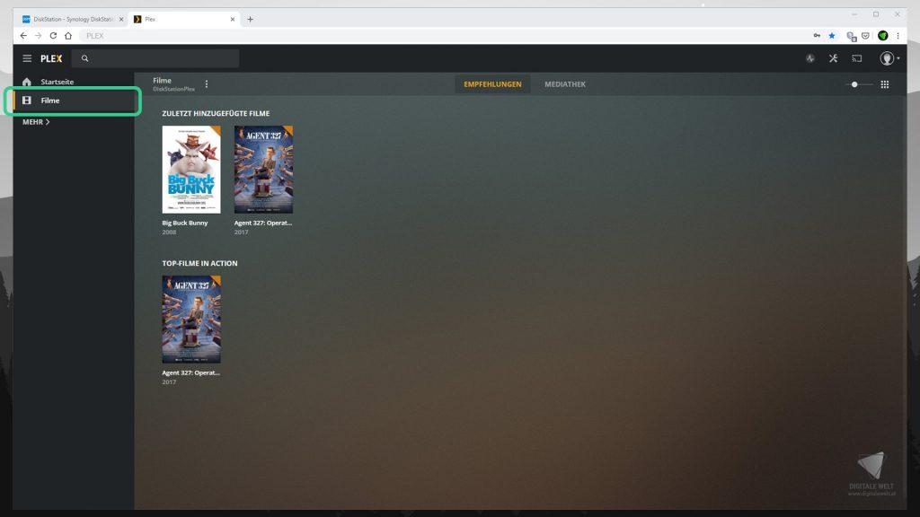 DiskStation Plex installieren & einrichten - Startseite Filme