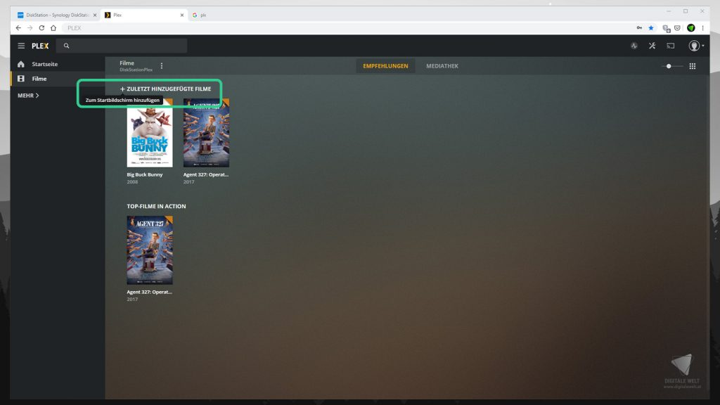 DiskStation Plex installieren & einrichten - Startseite anpassen