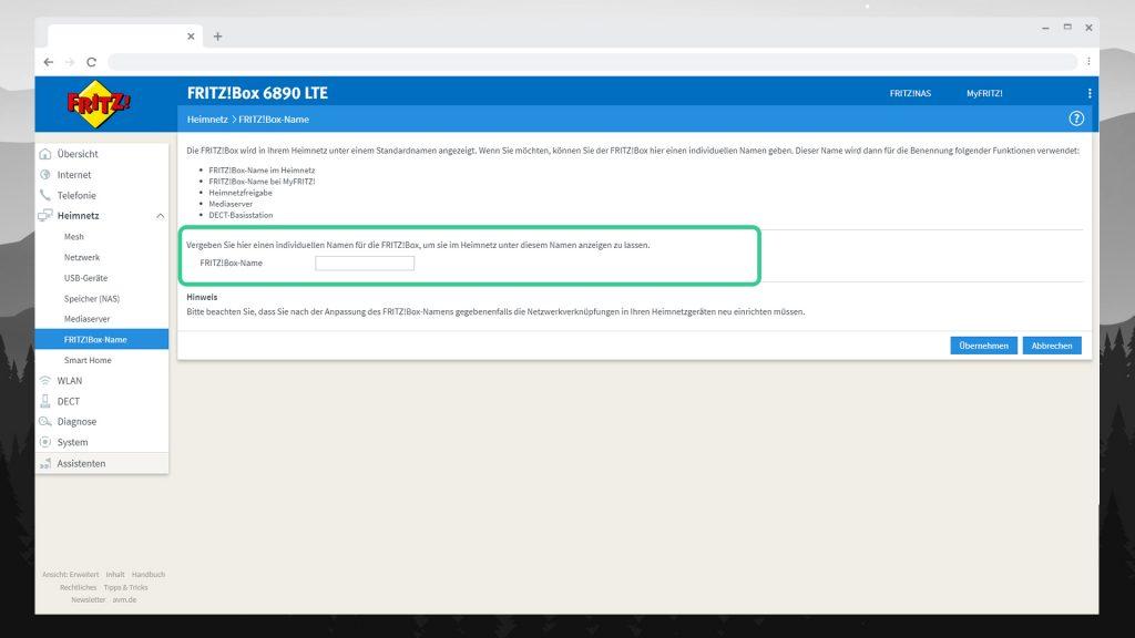 FRITZBOX 6890 einrichten - Heimnetzwerk Name - digitalewelt.at