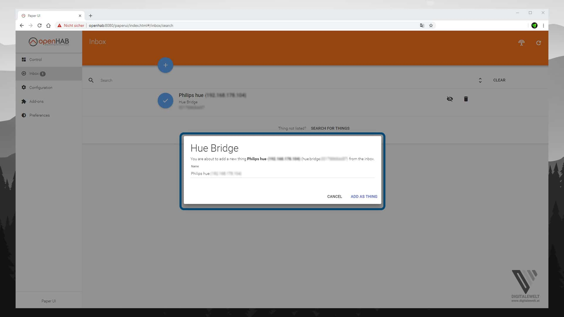 OpenHAB 2 Philips HUE Binding Teil1 – Bridge ADD AS THING – digitalewelt.at