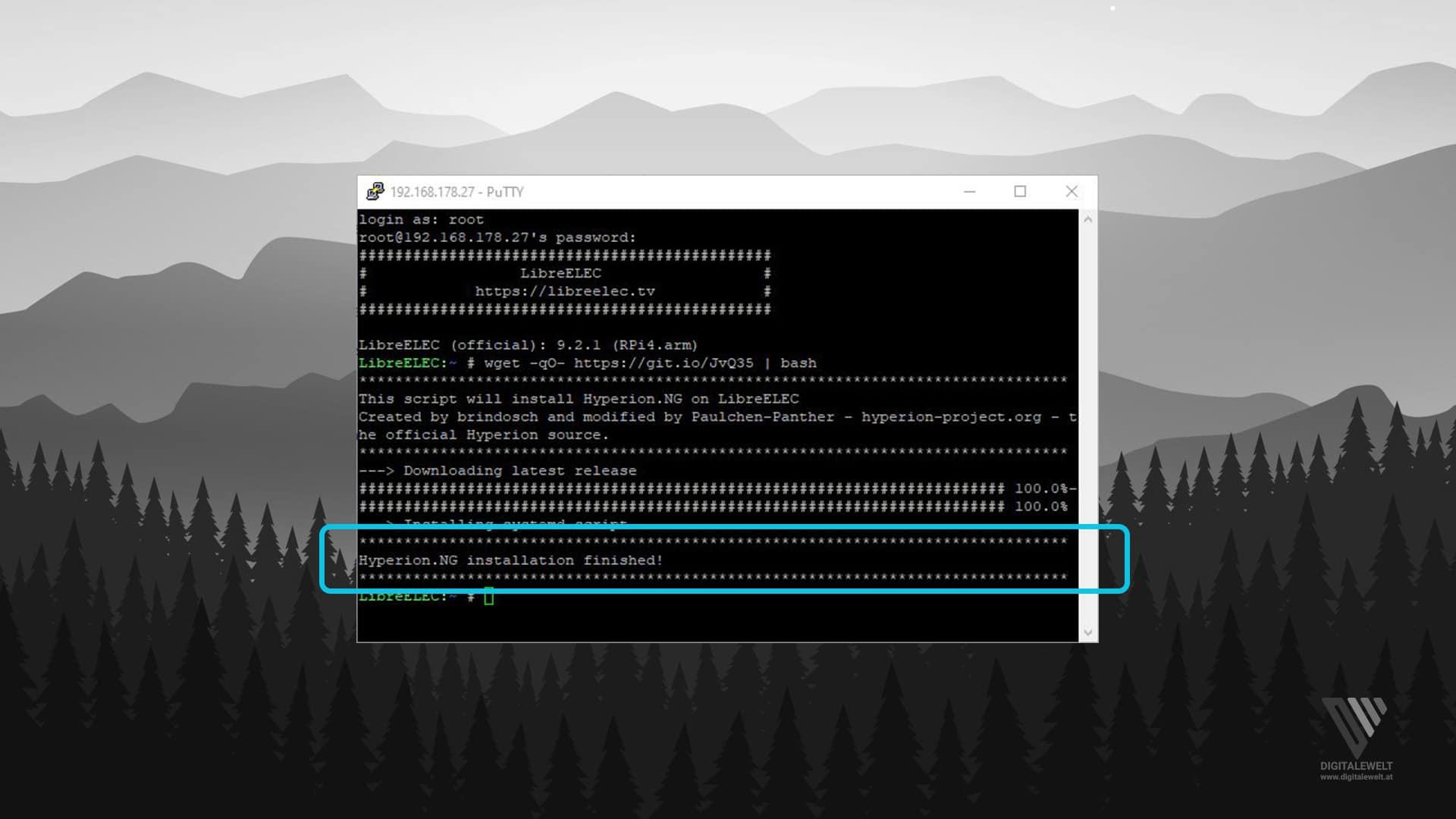 Hyperion.ng installieren - Installation abgeschlossen - digitalewelt.at