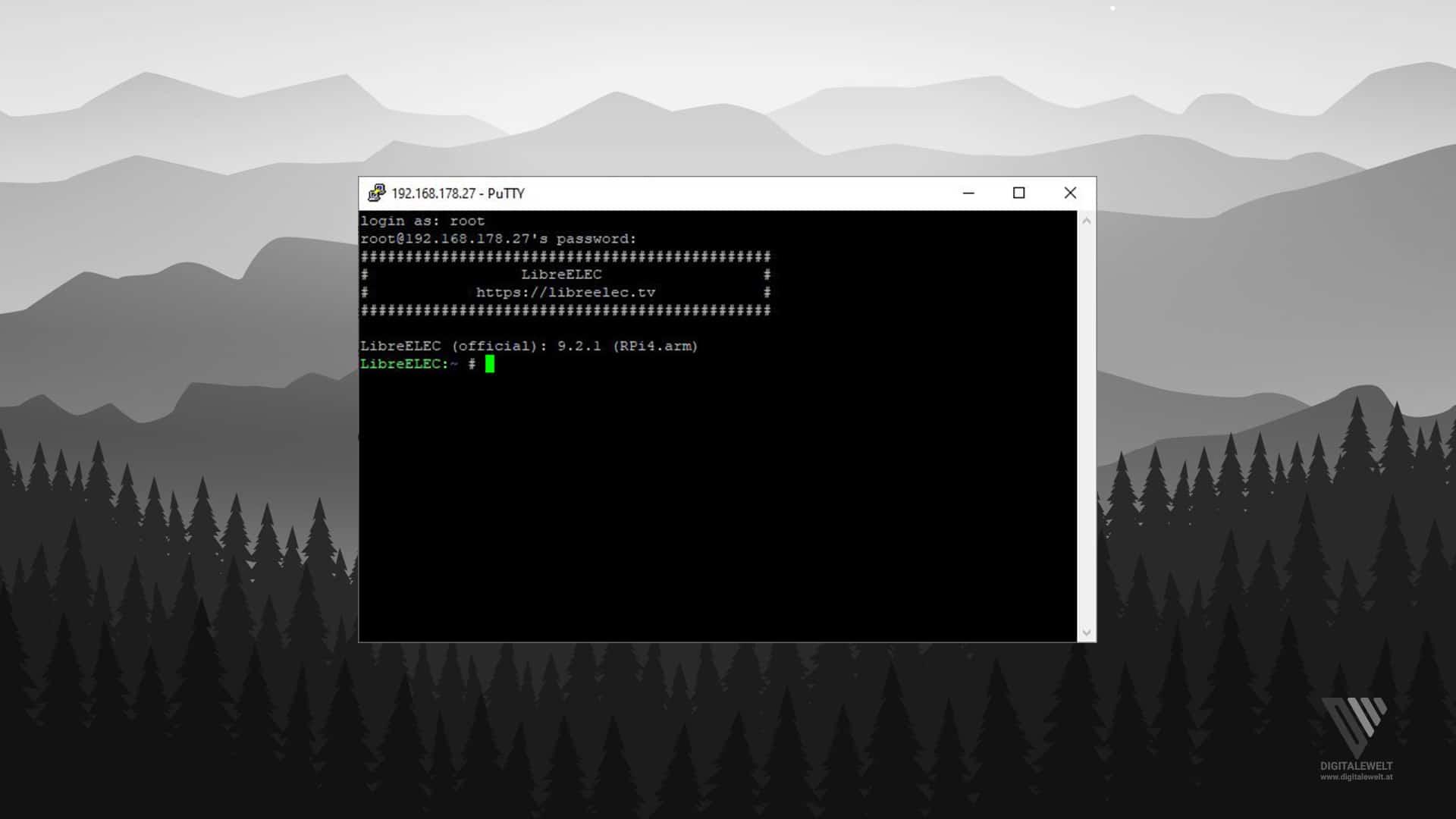 Hyperion.ng installieren - Putty Login - digitalewelt.at
