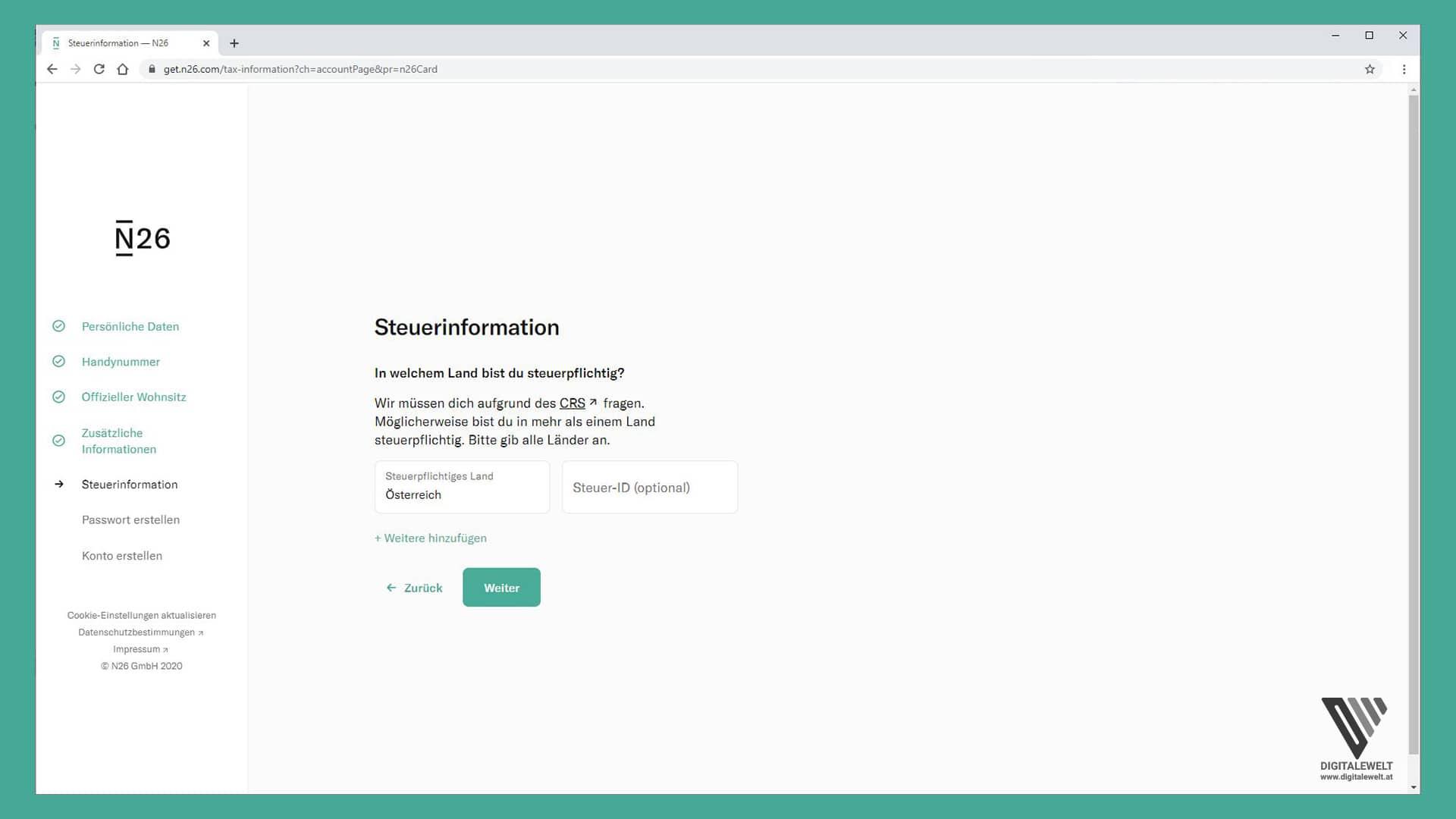 N26 Konto eröffnen - Steuerinformationen - digitalewelt.at