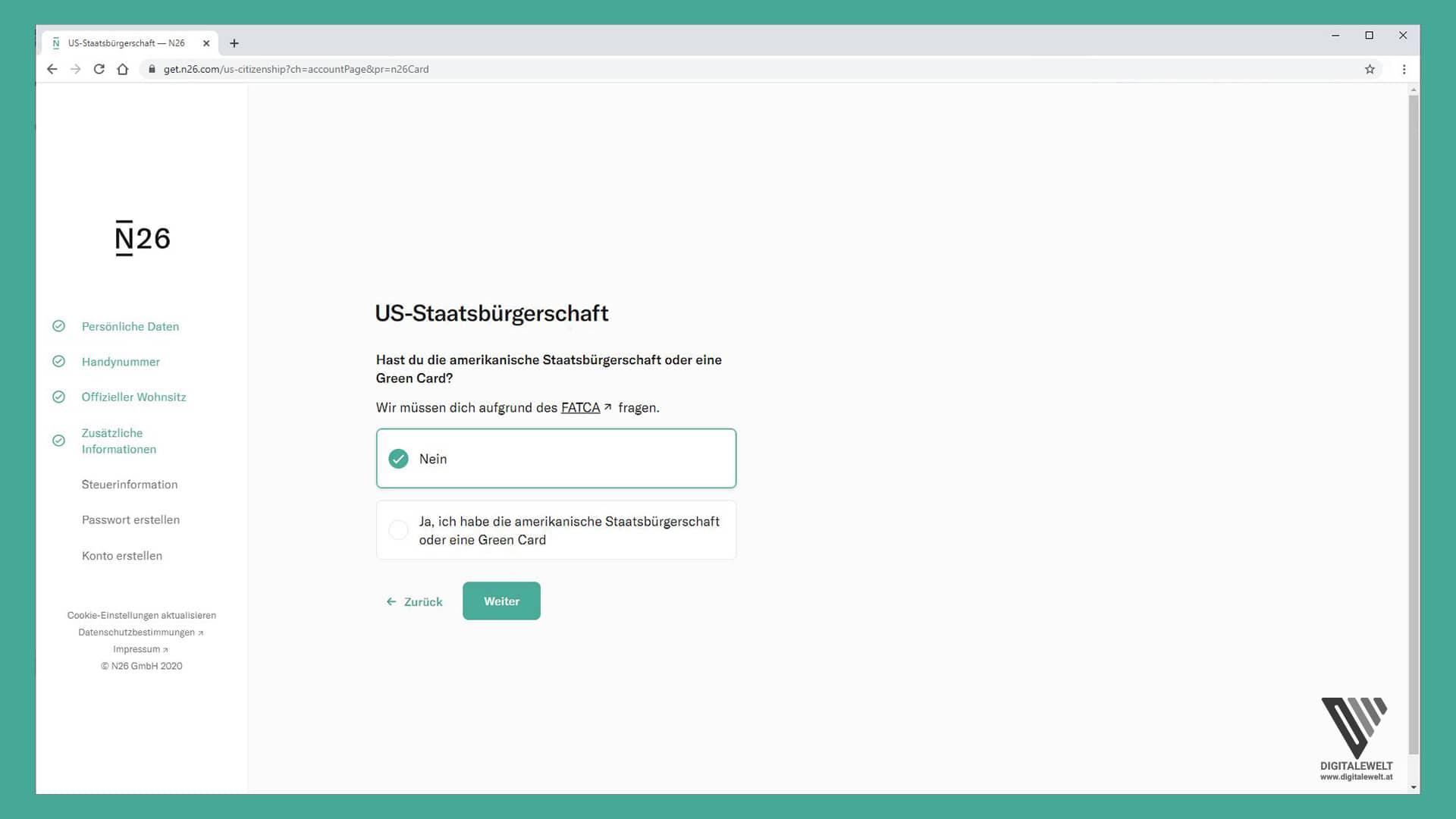 N26 Konto eröffnen - US-Staatsbürgerschaft - digitalewelt.at