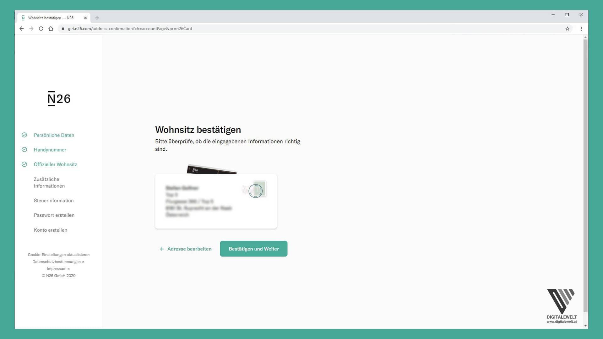 N26 Konto eröffnen - Wohnsitz prüfen und bestätigen - digitalewelt.at