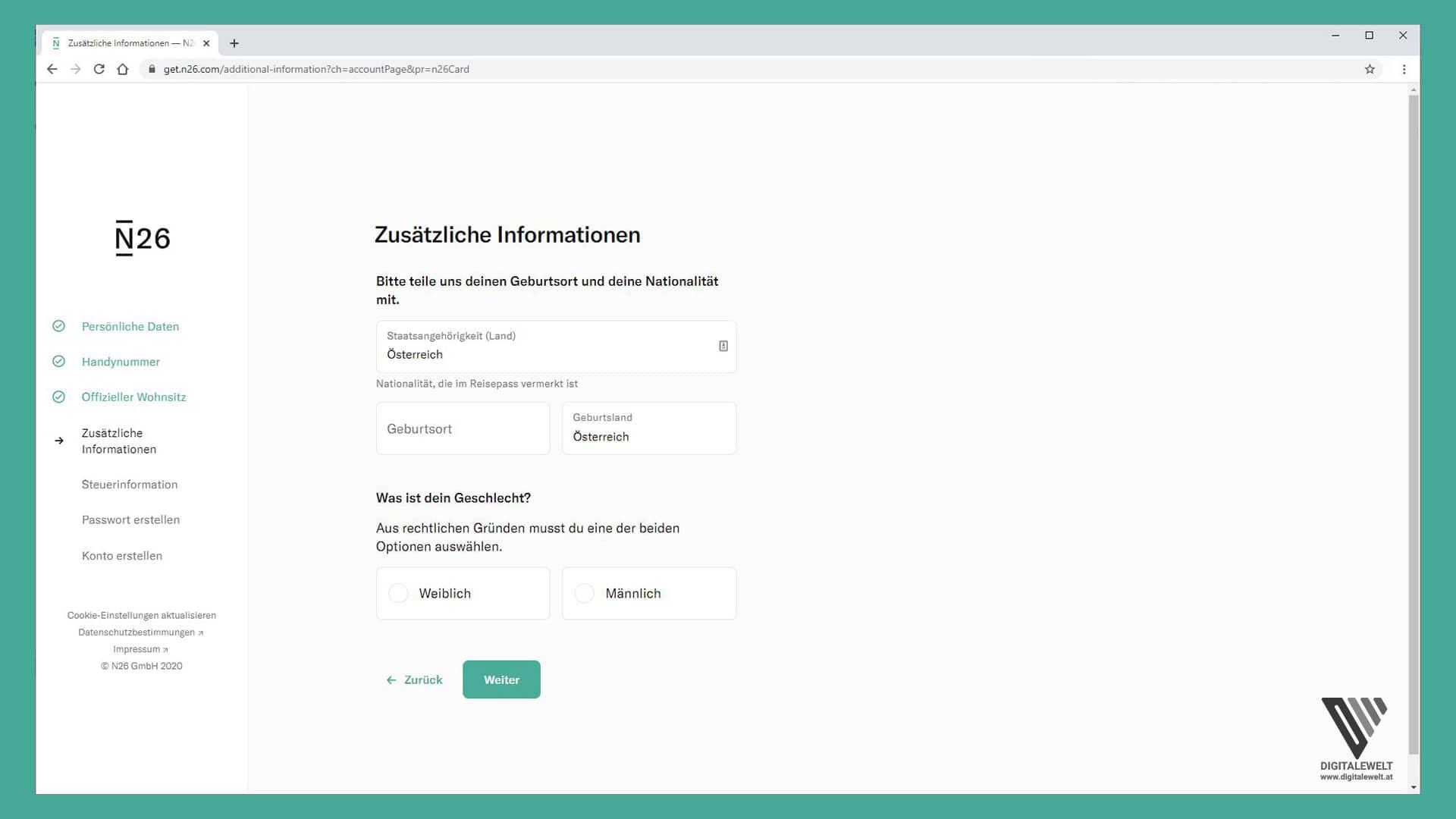 N26 Konto eröffnen - Zusätzliche Informationen - digitalewelt.at