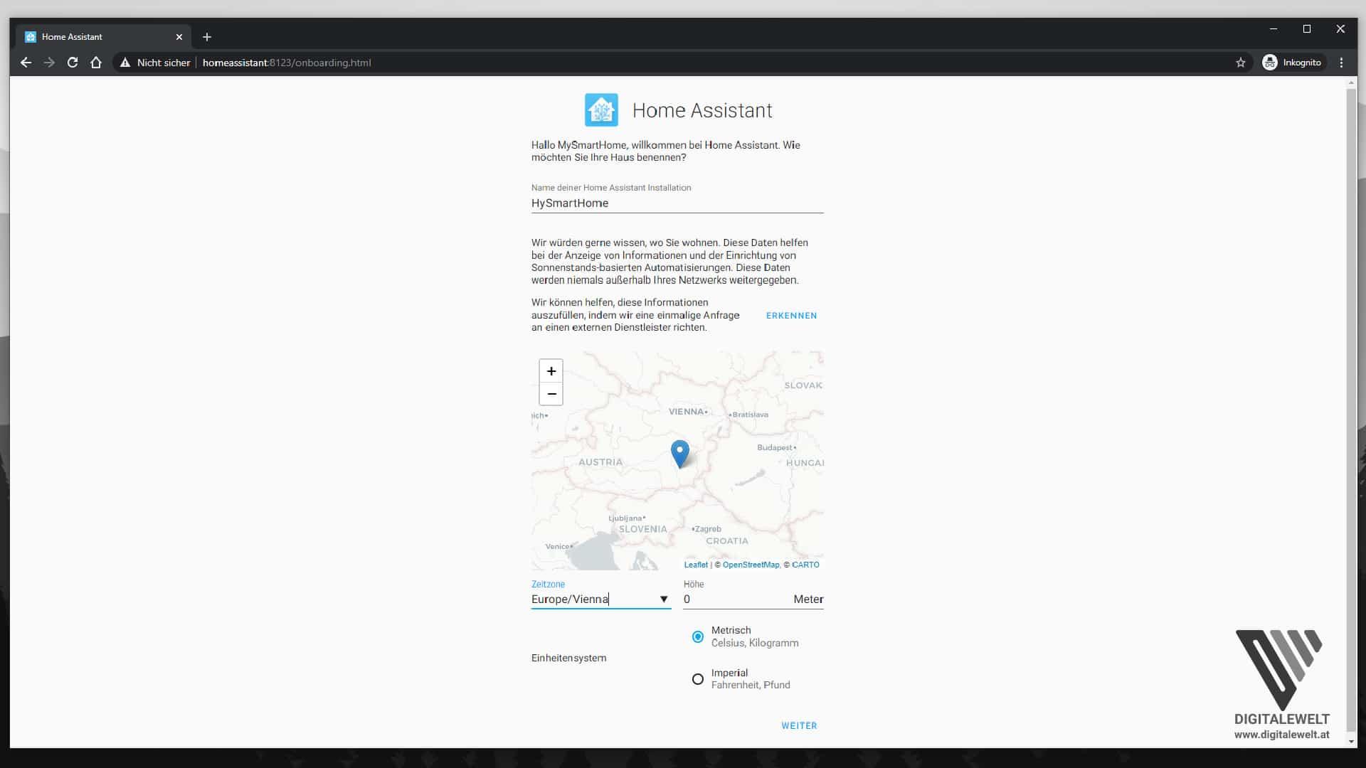 Home Assistant auf dem Raspberry Pi installieren - Standort und Zeitzone - digitalewelt.at