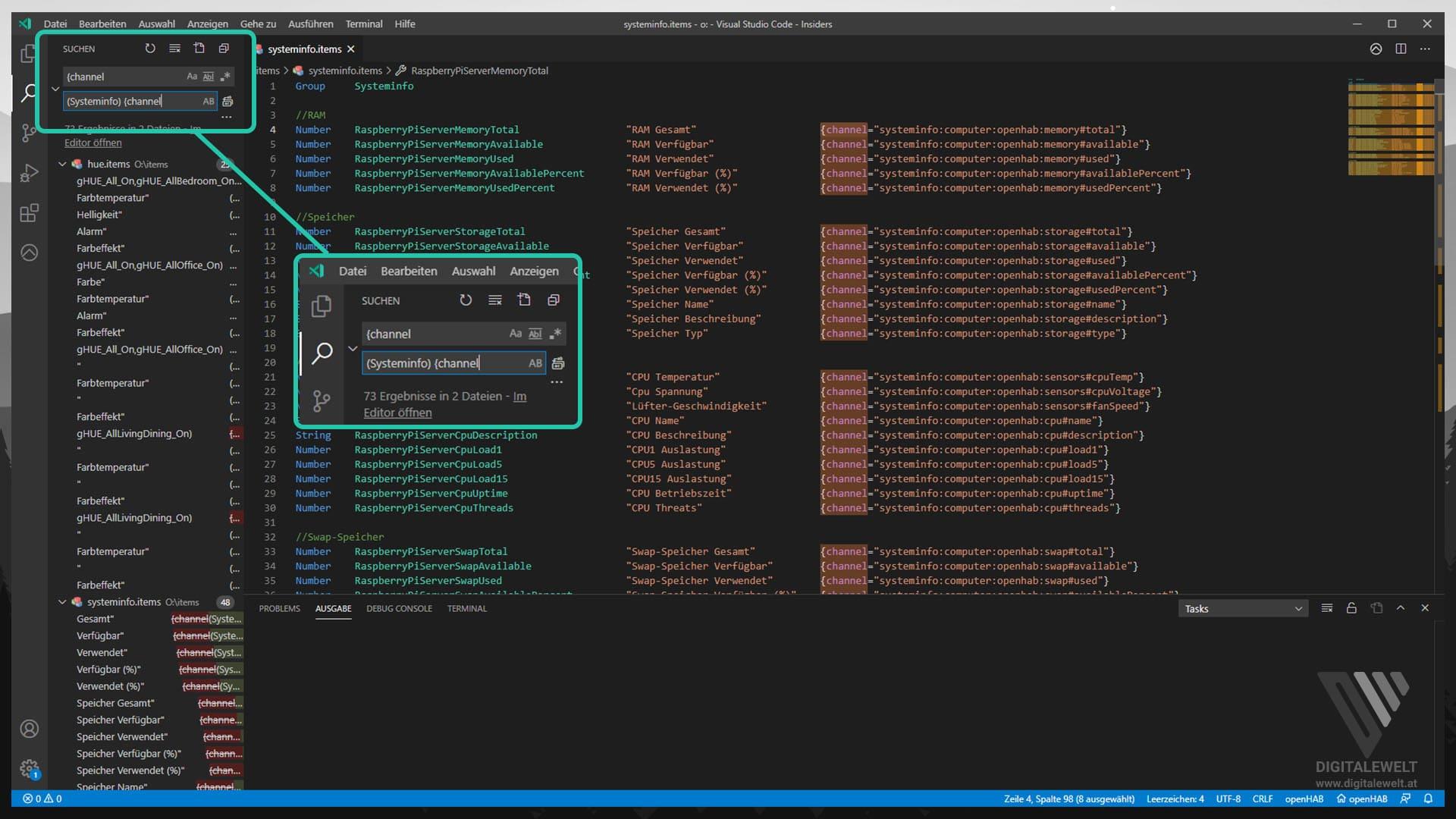 openHAB 2 Systeminfo Binding - Suchen und Ersetzen - digitalewelt.at