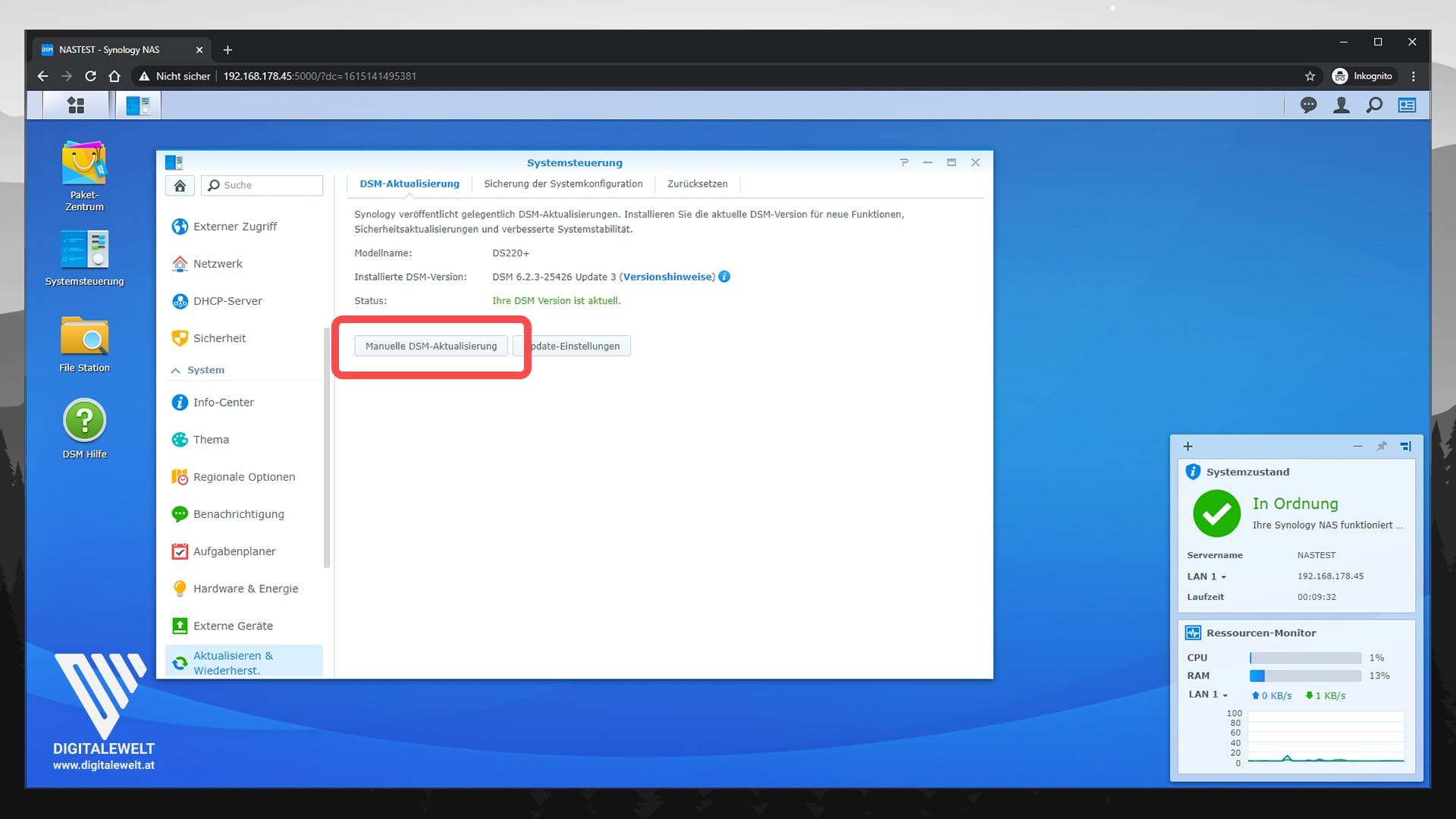 Synology DSM 7 Beta installieren - Manuelle DSM-Aktualisierung - digitalewelt.at